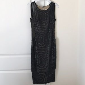 Form fitted sequined dress